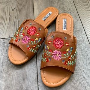 Cape Robbin embroidered vegan mules/sandals